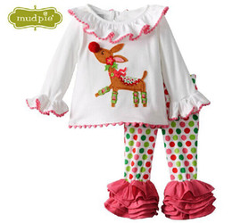 newest style christmas kids clothing set red dot t shirt cotton halloween baby girls suit Children pajamas with dear free shipping