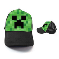 Wholesale Minecraft JJ Monster Creeper Toy Hat Baseball hat Sun hat Peaked Cap Children s Caps and Hats Canvas