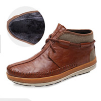 Wholesale new men s winter boots head layer cowhide flat heel plush high top shoes warm slip snow fashion leather boots