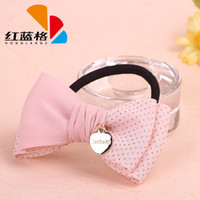 Wholesale 2014 Sell Red and Blue Grid Fabric Hair Accessories Upscale Fashion Personality Metal Chiffon Bow Hair Band N28667