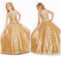 Wholesale Perfect Angels Ball Gown Beaded Gold Sequins Girls Pageant Dresses Iridescent Floorl Length Flower Girl Dresses infant Gowns