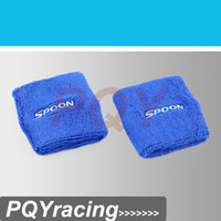 Wholesale J2 RACING STORE Spoon Oil Catch Tank Can tank Cover Brake Reservoir Tank Covers Pair Blue Color