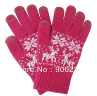 Wholesale New Lady Christmas Snow Deer Touch Screen Magic Gloves For iphone smart phone Winter Gloves