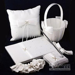 Wholesale 2014 Ring pillow quot Love Ever Lasting quot White Wedding Collection Set With Rhinestone Accents Pieces