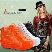 Wholesale 2014 Autumn Women Wedge High Heel Creeper Platform Sneakers Lady Height Increasing Boots Running Sneakers CXX182