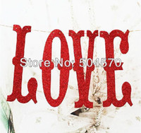Wholesale DIY quot LOVE quot Handwork Bling Wedding Birthday Party Sponge Paper Colors Ribbons Banner Hanging Party Wall Decors Supplies