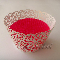 Wholesale 120pcs White Filigree Lace Laser Cutting ivy vine wedding Cupcake Wrappers cake decoration