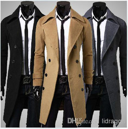 Wholesale 2015 New Fashion Men Wool Coats Men Winter Outwear Slim Long Double Breasted Trench Coats Turn down Collar Buttons Design Warm Coats