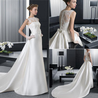 Wholesale Brand New High Neck Wedding Dresses Cathedral Train Sleeveless Covered Button Sash A Line Satin Lace Sheer Bridal Gowns