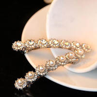 Wholesale From China Fine Pearl Jewelry Shining Crystal Diamond Edge Clip Hairpin Hairpin Row Barrettes Hair Clips B37179