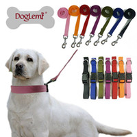dog collars and leashes - set Collar and Rope Plain Nylon Dog Puppy Pet Collar And Leash colors sizes