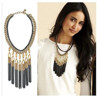Wholesale 2014 Bohemian Tassels Drop Vintage Gold Choker Chain Statement Necklaces Pendants Fashion Jewelry For Woman