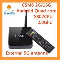 Wholesale Coolmax G G K TV BOX Ghz CSM8 s802 quad core tv box android smart set top box with external G antenna