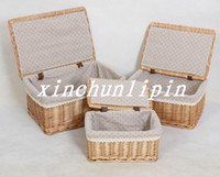 Wholesale Rattan willow storage basket with lid Large rustic storage baskets storage box storage box cosmetic box