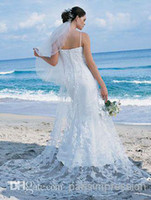 Wholesale Plus Size Lace Wedding Dresses Spaghetti Sweep Train Backless New Arrival Custom Made Beach Bridal Gowns