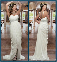 Sheath/Column Reference Images Sweetheart 2014 Cheap Beach Wedding Dresses Sweetheart Empire Waist Sweep Train Front Slit Beads Chiffon Grecian Bridal Dresses