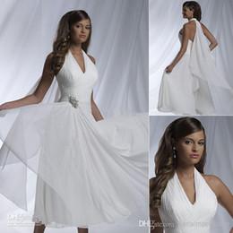 Wholesale 2015 Cheap Ruffles Halter Short Beach Wedding Dresses V Neck Sleeveless Backless Chiffon Sheath Tea Length Bridal Gowns Sleeveless