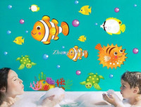 Wholesale free shiping bath room sticker home decor wall sticker cm pvc removable Clownfish wall paper XY8100