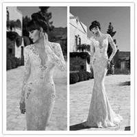 Cheap Newest Berta 2014 Wedding Dresses Lace Mermaid Long Sleeve Sequins Deep V neck Sweep Train Garden Dress Bridal Gowns Dresses NO.2364