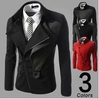 Wholesale Autumn winter men fashion fit jacket Men s leisure slimming inclined zipper cloth coat male casual Stitching jacket