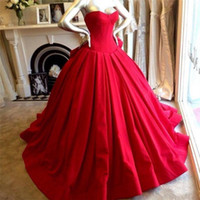 Wholesale 2015 Simple Ball Gown Wedding Dresses Red Sweetheart New Fashion Floor Length Satin Pleats Bridal Gowns IUD4589