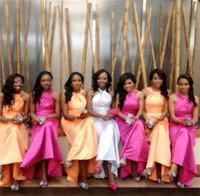 Cheap 2015 Simple A Line Bridesmaid Dresses Halter Sleeveless Floor Length Taffeta Backless Cheap Formal Prom Gowns IUD4617