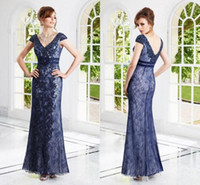 Cheap 2015 Charming Mermaid Mother Of Bride Dresses V Neck Cap Sleeves Appliques Beads Sequined Floor Length Lace Formal Gowns IUD4473
