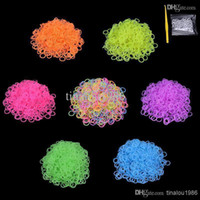 Wholesale 7 Color DIY silicone loom bands mixed colors Pearl Rainbow rubber loom bands used to make bracelet loom bands clip hook