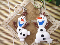 Wholesale In Stock Hot Best Gift Anime Cartoon Movie Frozen Keychain Set Cute Elsa Anna Olaf Snow Romance Snow treasure Sided key chain