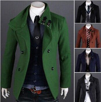 Wholesale Autumn Winter Mens Fashion Solid Down Parkas Male Turn down Collar Peacoat Wool Coat