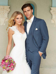 Wholesale 2014 Fshion Navy Blue Buttons Groom Tuxedos Notch Lapel Groomsman Suits Jacket Pants Tie Waistcoat
