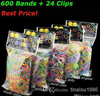 Cheap Loom Bands Glitter Jelly Glow in the dark Dual Color Multi Color Rubber Bands Loom Band Wrist Bracelet (600 bands + 24clip+hook) 500pcs MOQ