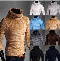 Wholesale Winter new hot sale Korean men s sweater thick fleece sweater with high collar stretch sweater men colors