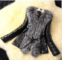 Cheap Details about Fashion Women's Winter Warm Fur Collar Coat Leather Cotton Jacket Overcoat Parka