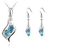 Wholesale Fashion Jewelry Jewelry Set Necklace Pendant Drop Earring Blue Crystal Silver Plated Jewelry Set For Women