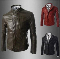 Wholesale Hot selling new men PU leather jacket outerwear fashion Men s casual slim leather jacket coat