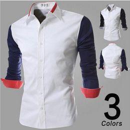Wholesale New Fashion Men Splice long sleeve shirt Red Collar Sleeve High Quality Men shirts
