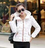 Cheap Modern Stylish Polka Dots Warm Winter Coat Women Fashion Long Sleeve Zipper Fly Plus Size Down Coats 5854