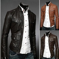 Wholesale Hot selling new men PU multi pockets decoration leather jacket fashion Men s casual slim leather jacket coat