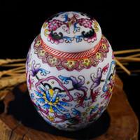 Wholesale Top Fashion Ceramic Home Storage Craft Beautiful Design Handpainted Porcelain Tea Caddy Good Puer Tea Sotrage Jar