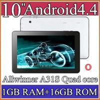 Wholesale 30pcs Google inch Quad core GHz Allwinner A31S Android tablet pc Capacitive GB GB Dual Camera HDMI Bluetooth USB OTG PB10A
