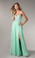 dhg - 2014 Custom made Sweetheart Chiffon Prom Dresses Side Split Sweet Dresses Crystal Evening dresses Party DHG