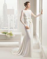 Cheap 2015 Ivory Chiffon Bridal Dress Long Sleeve A Line Court Train Beteau Wedding Gown Vestidos Modest Wedding Dress With Sleeves Elie Saab