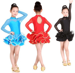 Wholesale Girls Latin Dance Dress Skirt Long Sleeves Back Hole Ruffle Hemline Design Party Show Dance Costume tls020