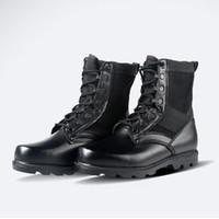 Wholesale Fashion Men genuine leather military Boots Vintage Combat Army anti puncture combat Black Shoes X253