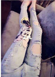 Wholesale Plus size Mickey Mouse brand desigual stretchable denim ripped Jeans skinny pants with Hole Rhinestones for women ladies Girlsautumn pants