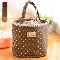 free stuff - outdoor Picnic Insulated Lunch Bag Polka Dot Cotton cloth Cooler Thermal Waterproof box Container Tote ZB0055