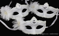 Wholesale Snow White Mask Halloween costume party mask for Christmas carnival halloween masquerade dance Venice mask side feather flower masks pic