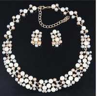 Wholesale Classic Imitation Pearl Jewelry Sets Gold Plated Clear Crystal High Quality Color Pearls Party Gifts