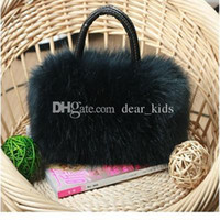 Wholesale New fashion girls Evening Bags with black and white colors cheap bags with fur Messenger Bag women Cosmetic bags